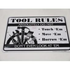 MAN CAVE TOOL RULES METAL SIGN